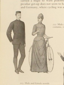 Male and female cycling costume, 1878-80