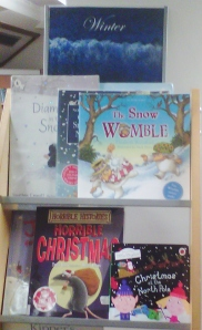 Christmas books on display