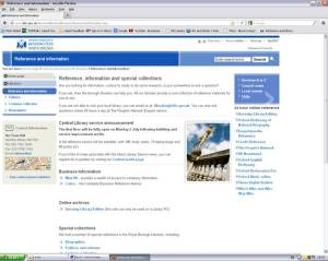 Reference Library webpage