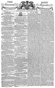 Cover page of the first issue of The Times, 1 January 1785