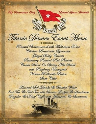 Dinner Menu on the Titanic