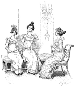 Jane Austen: 'Offended two or three young ladies', illustration from Pride and Prejudice, 1894 edition