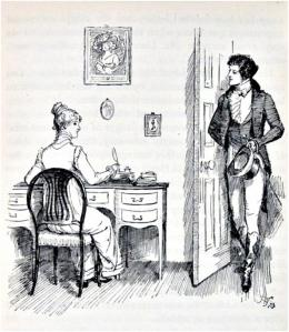 Elizabeth Bennett and Mr Darcy- illustration by Hugh Thomson in 1894 edition of 'Pride and Prejudice'