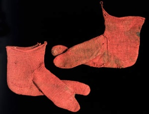 Romano-Egyptian socks, made by nalbinding (Fifth century)
