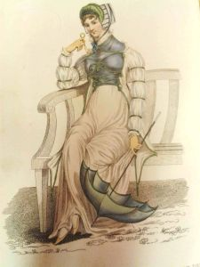 Kensington Gardens Fashionable Promenade Dress, July 1811