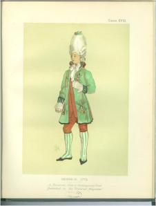 A Macaroni from 'Civil Costume in England from William to the Regency' by Lewis Wingfield