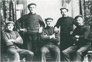 Pike fishing crew wearing plain working ganseys