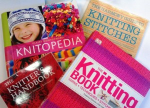 Books on knitting techniques and stitch patterns