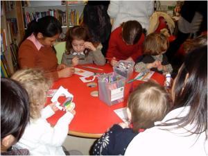 Children making finger puppets.