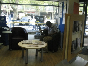 Enjoying the new reading area at Kensal Library