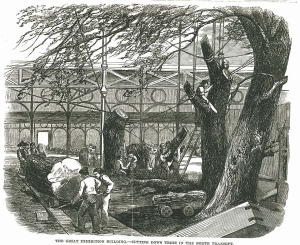 The Great Exhibition Building - cutting down trees in the north transept