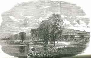 The Great Exhibition Building in Hyde Park, sketched from Kensington Gardens Bridge