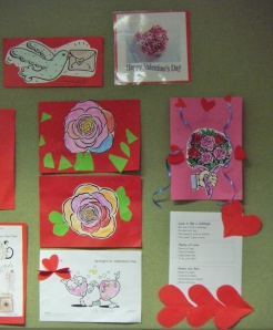 Valentine's Day crafts on display