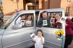 The special World Book Night taxi outside Kensington Central Library