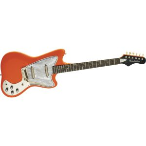 Danelectro guitar in vivid 'agent orange.'