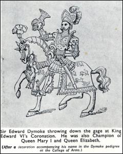 Sir Edward Dymoke throwing down the gage at King Edward VI's Coronation