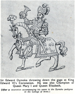 Sir Edward Dymoke throwing down the gage at King Edward VI's Coronation