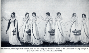 Miss Fellowes and her ladies strewing fragrant herbs