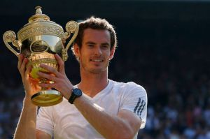 Andy Murray with his Wimbledon trophy