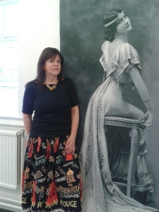 Susie Ralph with one of the splendid printed silk panels showing an enlarged picture of the Sylphides design.