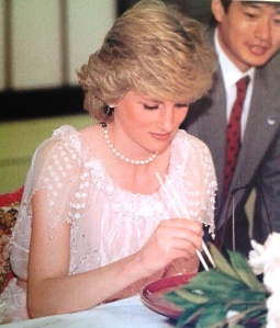 Princess Diana wearing the dress designed by Zandra Rhodes