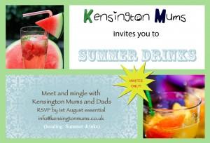 Kensington Mums summer drinks invitation
