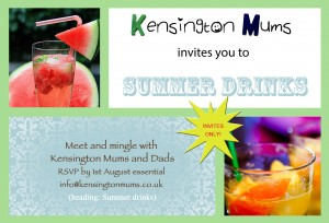 Kensington Mums summer drinks invitation