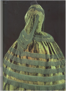 Promenade Dress made of silk plush. British 1855-57
