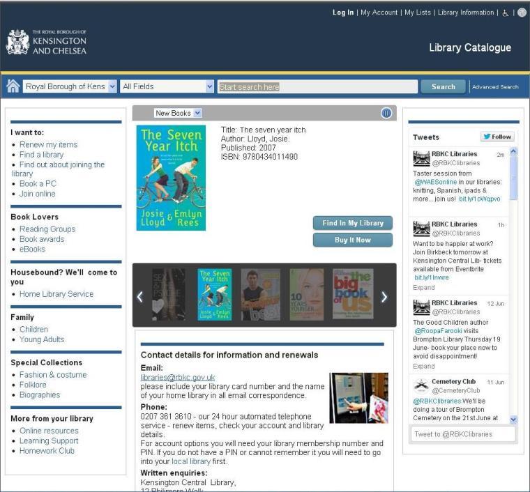 RBKC library catalogue