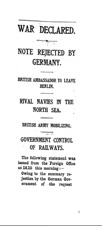 The Times, 5th August 1914