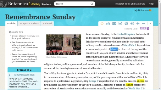 Remembrance Sunday on  Encyclopaedia Britannica