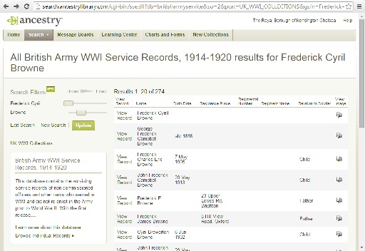 World War One records