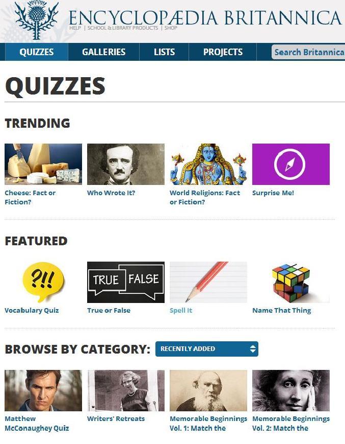 Encyclopaedia Britannica Quizzes