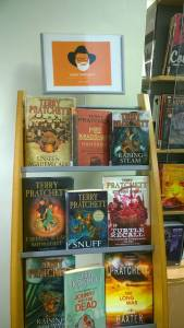 Terry Pratchett display Brompton Library
