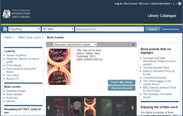 Book Awards page - part of the RBKC library catalogue