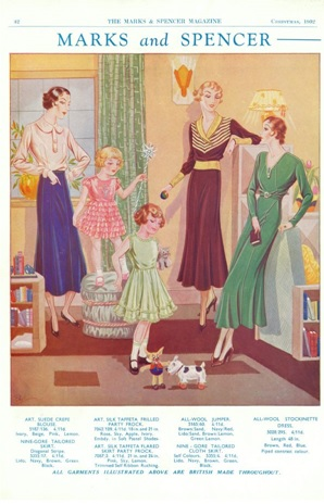 Picture from M&S Magazine, Christmas 1932 Womenswear advert with three women and two young girls