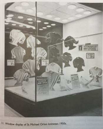 Picture of a large window display unit with knitwear suspended from the top