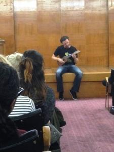 Steve Cole, Author playing ukele