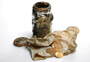 Hackney hoard - coins in a jar