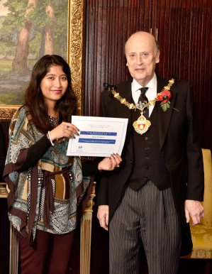 Volunteer receiving certificate
