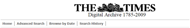 The times Digital Archive, 1785-2009 - Banner