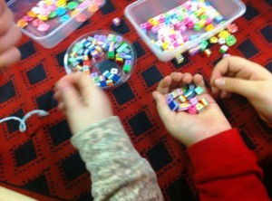 Selecting beads to create bracelets