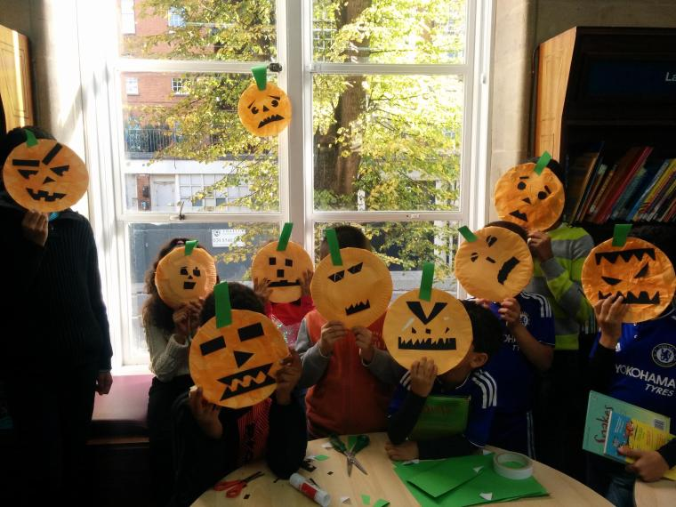 Saturday craft - Children made these awesome pumpkin faces!