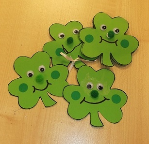 Shamrock faces for St Patrick's Day 2017 at Kensal Library